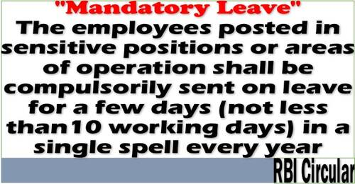 Mandatory Leave for Employees Posted in Sensitive Positions or Areas of Operation: RBI