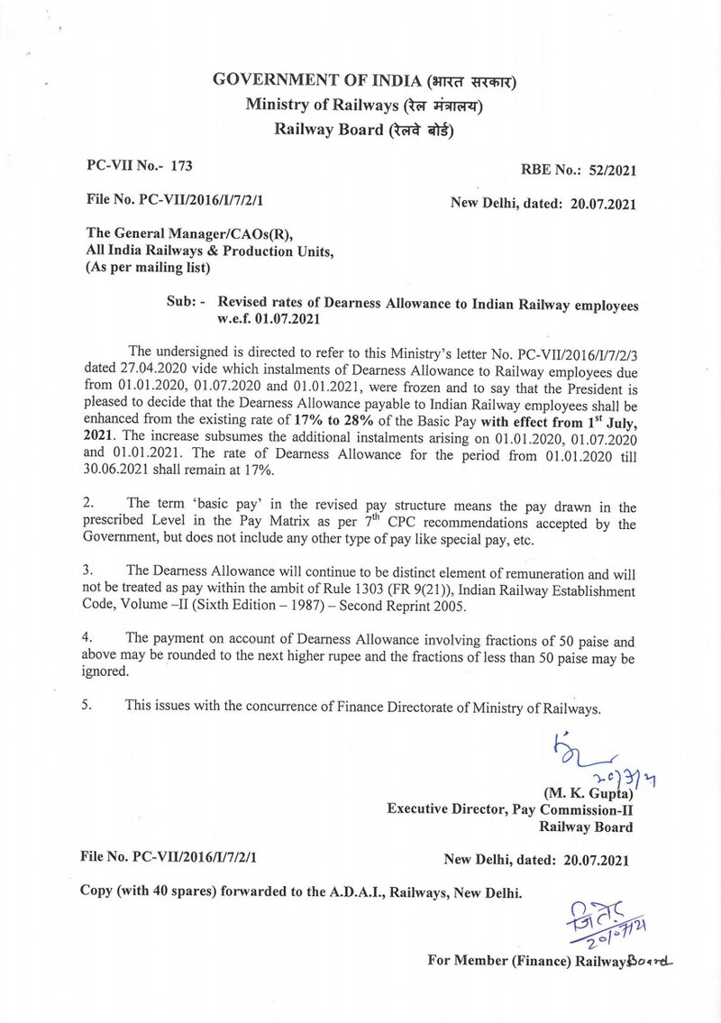 Revised rates of Dearness Allowance to Indian Railway employees w.e.f. 01.07.2021: RBE No. 52/2021