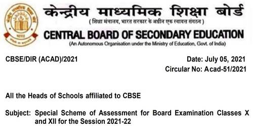 Special Scheme of Assessment for Board Examination Classes X and XII for the Session 2021-22