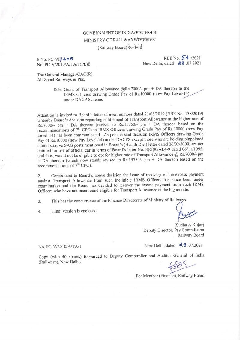Transport Allowance @Rs.7000/- pm + DA thereon to the IRMS Officers drawing Grade Pay of Rs.10000 (now Pay Level-14) under DACP Scheme: RBE No. 54/2021