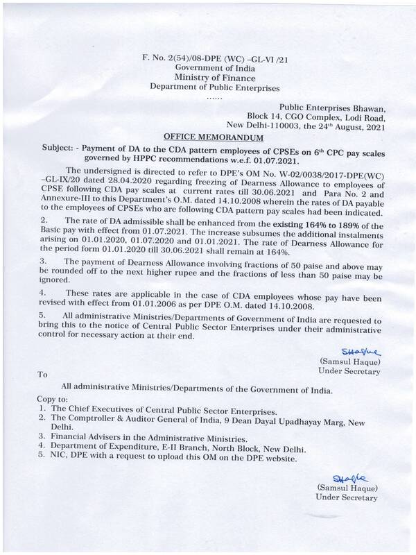 6th CPC Dearness Allowance from July-2021 @ 189% for CPSEs Employees