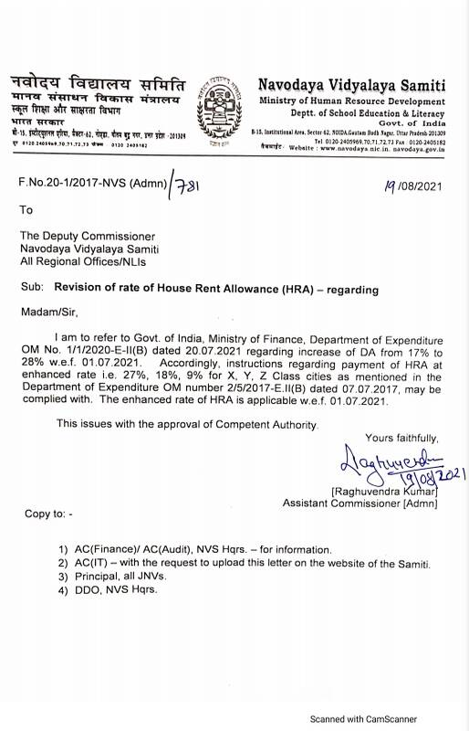 Revision of rate of House Rent Allowance (HRA): NVS