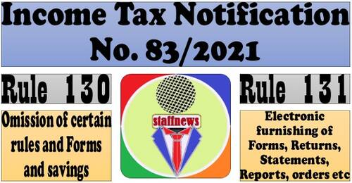 Income Tax Notification 83/2021: New IT Rule 130 & 131 regarding Forms, returns, reports