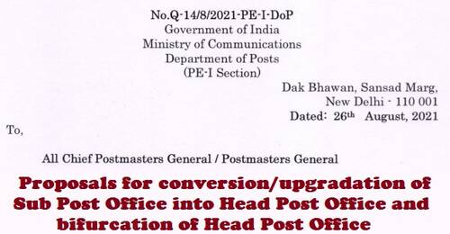 Proposals for conversion/upgradation of Sub Post Office into Head Post Office and bifurcation of Head Post Office