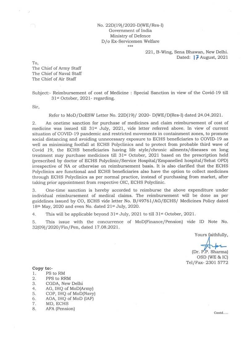 Reimbursement of cost of Medicine: Special Sanction till 31st October, 2021 to ECHS Beneficiaries