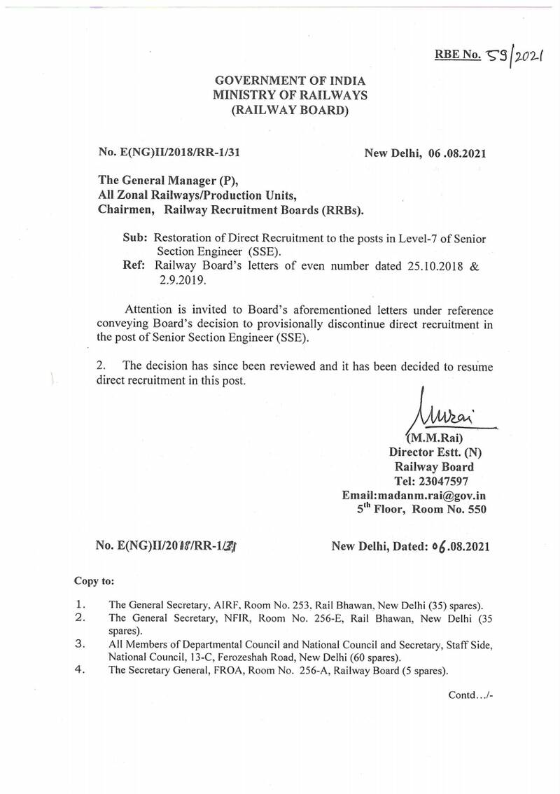 Restoration of Direct Recruitment to the posts in Level-7 of Senior Section Engineer (SSE): RBE No. 59/2021