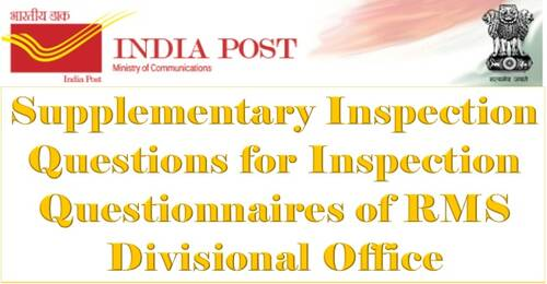 Supplementary Inspection Questions for Inspection Questionnaires of RMS Divisional Office: DoP Order dated 24.08.2021