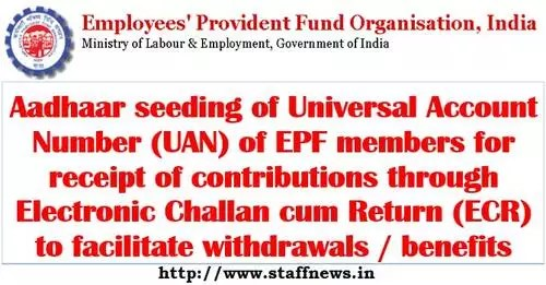 Aadhaar seeding of UAN of EPF members for receipt of contributions through ECR to facilitate withdrawals / benefits.
