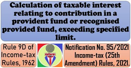 Calculation of taxable interest relating to contribution in a provident fund: Rule 9D of Income-tax Rules, 1962 – IT 25th Amendment Rules 2021