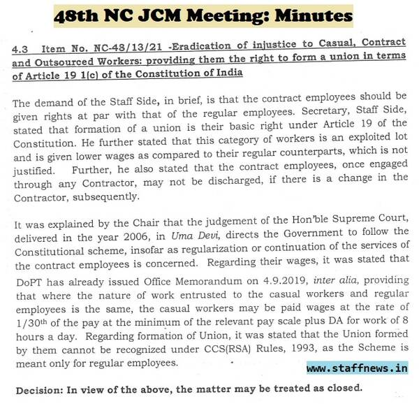 Eradication of injustice to Casual, Contract and Outsourced Workers: Minutes of 48th NC JCM Meeting