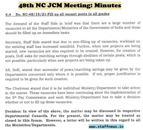 Fill up all vacant posts in all grades: Minutes of 48th NC JCM Meeting