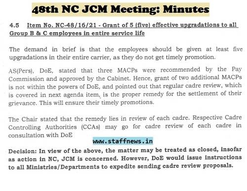 Grant of 5 (five) effective upgradations to all Group B & C employees in entire service life: Minutes of 48th NC JCM Meeting