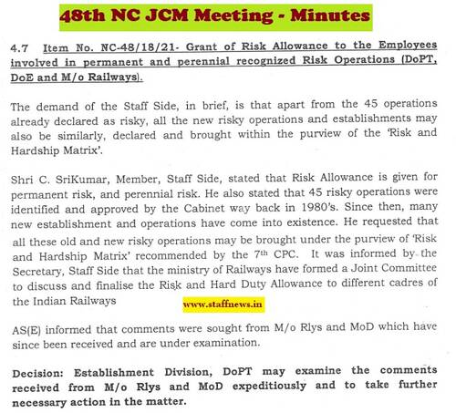 Grant of Risk Allowance to the Employees involved in permanent and perennial recognized Risk Operations: Minutes of 48th NC JCM Meeting