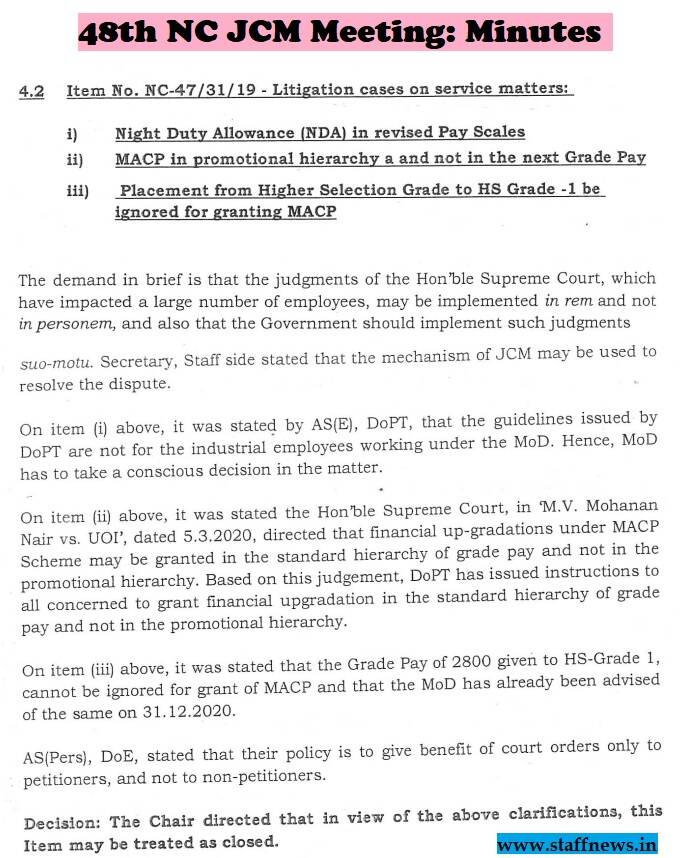 Litigation cases on service matters – Night Duty Allowance, MACP in promotional hierarchy, HS Gde-I be ignored in MACP: Minutes of 48th NC JCM Meeting