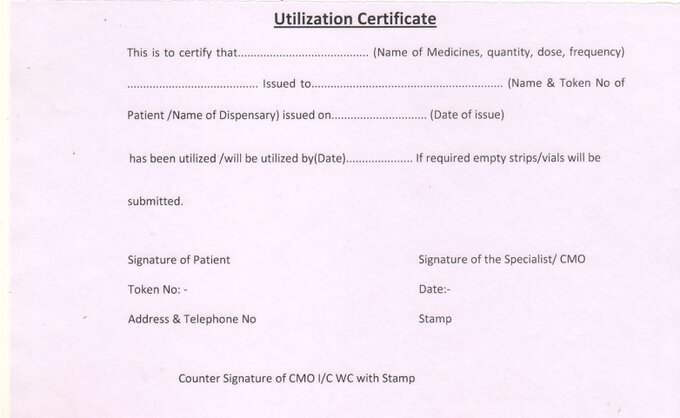 Utilization Certificate Form: Required for Issuance of Restricted Medicine from CGHS