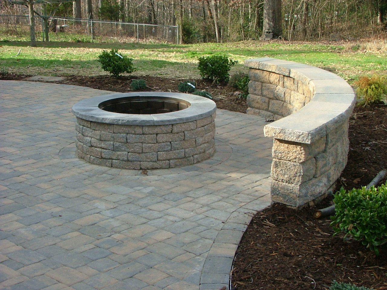 Paver Patio with Built-in Fireplace in Stafford, Virginia ... on Paver Patio Designs With Fire Pit id=75471