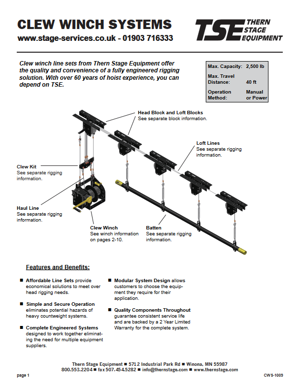 winched stage lighting bar design and