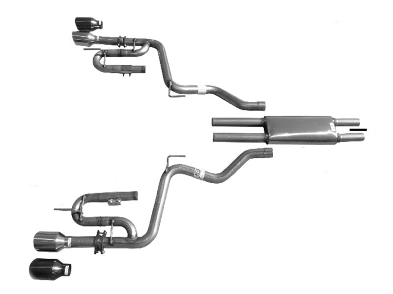2015 2019 mustang v6 solo performance mach xj cat back exhaust system w black tips 993137bk