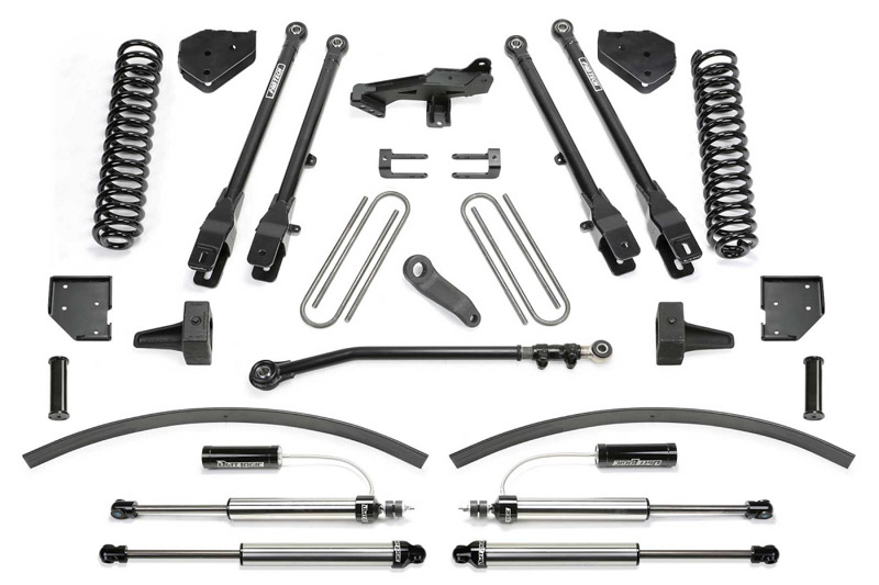 F250 Amp F350 Fabtech 8 4 Link Lift Kit W Front Dirt Logic 4 0 Resi Coilovers And Rear