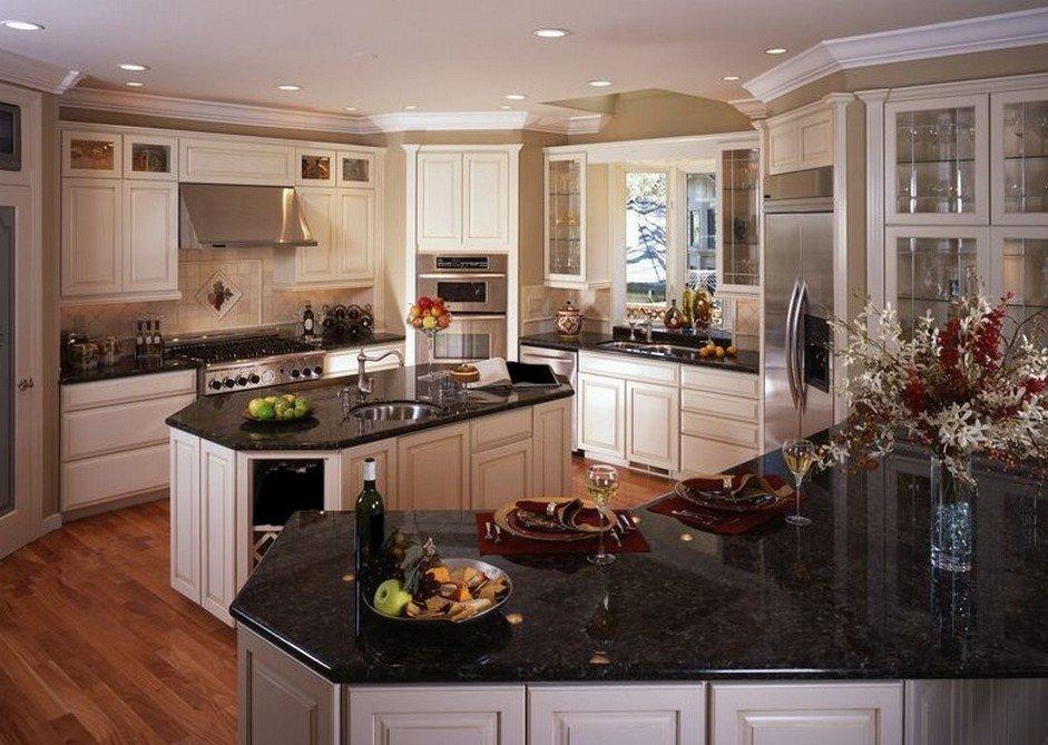 White Kitchen Cabinets with Black Granite Countertops ... on Kitchens With Black Granite Countertops  id=30309