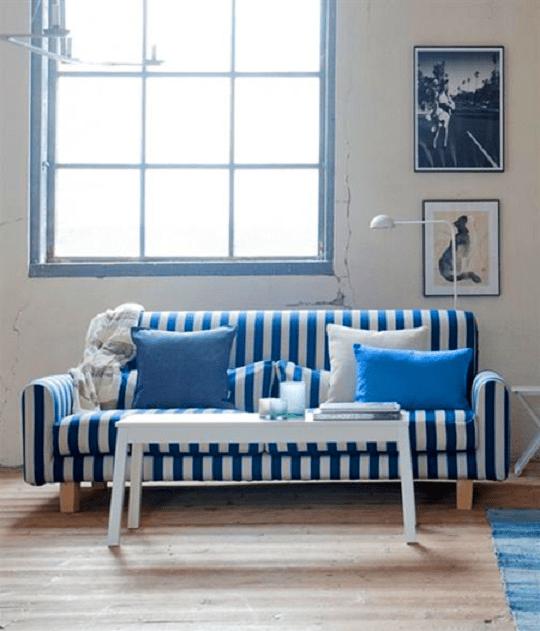 Blue Striped Sofa Home Furniture Design