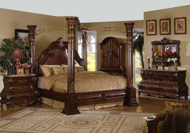 California King Canopy Bedroom Set - Home Furniture Design