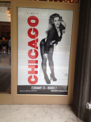 angle reda on an advertisement at the bank of america theatre