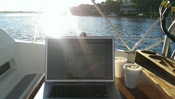 Working hard at Cabbage Key...