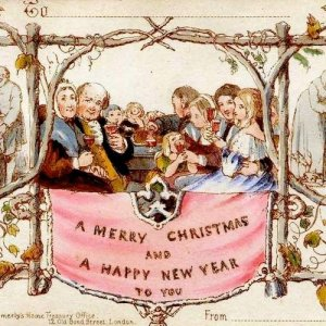 A vintage holiday card illustration. A family of pilgrams drinks wine behind a banner proclaiming good tidings.