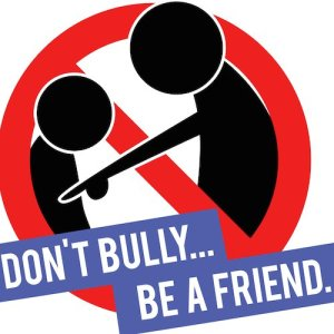 """Anti-bullying logo with the message, """"Don't bully... be a friend."""""""