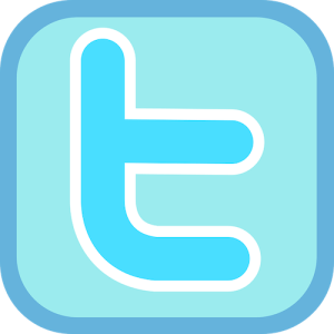 """The Twitter icon - a turquoise lowercase letter """"t"""" outlined in white, on a light blue background bordered with periwinkle."""