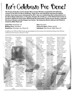 Stahancyk, Kent & Hookl was well represented among the Oregon State Bar Pro Bono Challenge Winners for 2011
