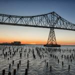 View of the Astoria-Megler bridge at sunset.