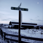 """View of """"Stahancyk Lane"""" during wintertime in Prineville, OR."""