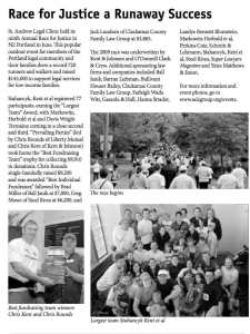 An article about the St. Andrew Race for Justice featuring the Stahancyk team.