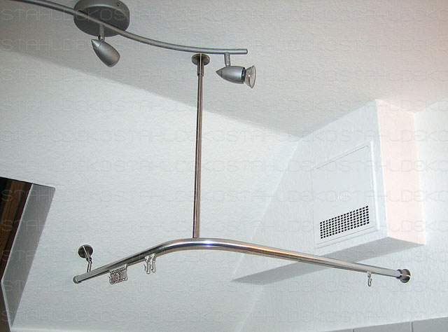 Shower Curtain Rod For Quadrant Shower Tubs With Aluminium Profile Wall Or Ceiling Mount