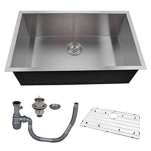 10 Inch Deep Kitchen Sinks Kes 30 inch kitchen sink stainless steel single bowl undermount deep kes 30 inch kitchen sink stainless steel single bowl undermount deep 16 gauge zero radius with drain stainer basket and bottom grid protector 30 x 18 x 10 workwithnaturefo