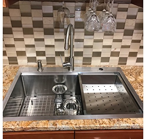 Medium image of 33 x 22 top mount single bowl kitchen sink drop in 304 stainless steel 16 gauge by supersuper proofing