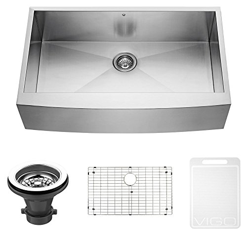 vigo 36 inch farmhouse apron single bowl 16 gauge stainless steel kitchen sink with grid and strainer premium 304 series stainless steel construction     farmhouse   stainless steel sink shop  rh   stainlesssteelsinkshop com