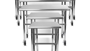 Gridmann NSF Stainless Steel Commercial Kitchen Prep Work Table W - Stainless steel work table on casters