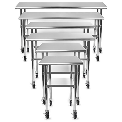 Gridmann NSF Stainless Steel Commercial Kitchen Prep U0026 Work Table W/ 4  Casters (Wheels