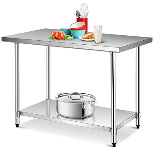 KPS Commercial Stainless Steel Work Table 14 x 30 with Double Undershelf