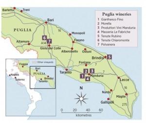 Map of the Puglia wine region from Decanter magazine's Travel Guide to Puglia