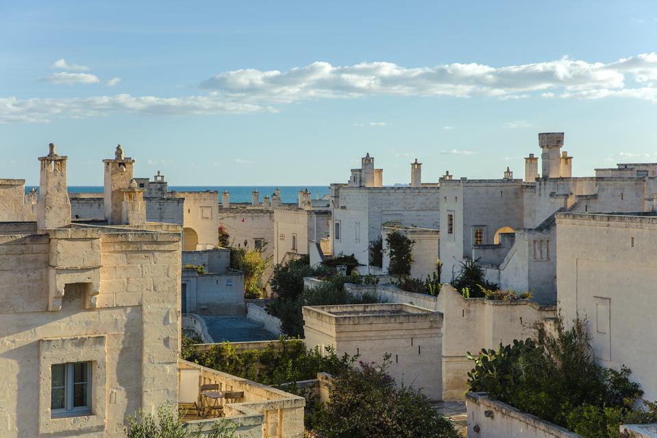 The villas at Borgo Egnazia in Puglia, Italy, resemble a medieval village.