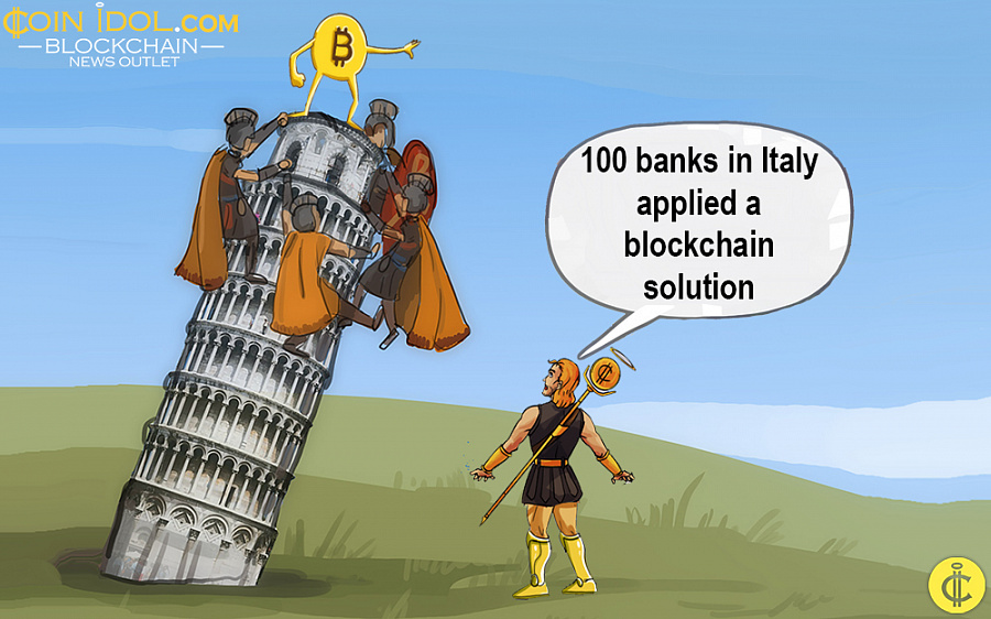100 banks in Italy applied a blockchain solution
