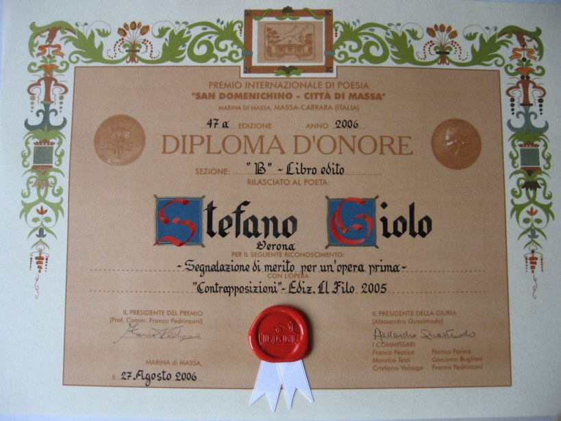 Diploma del Premio San Domenichino
