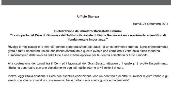 Dichiarazione della Gelmini sulle scopete del CERN