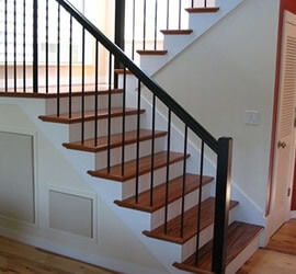 Styles Of Wrought Iron Stairs Spindles Change Wood Stairs To   Wood Railing With Metal Spindles   Brazilian Cherry Stair   Newel Post   Stained   Traditional   Metal Stair