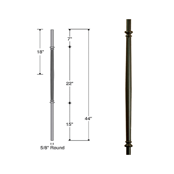 Hollow Venetian Fluted Bar Iron Baluster