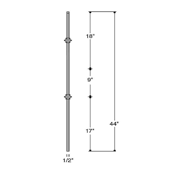 Solid Double Knuckle Iron Baluster